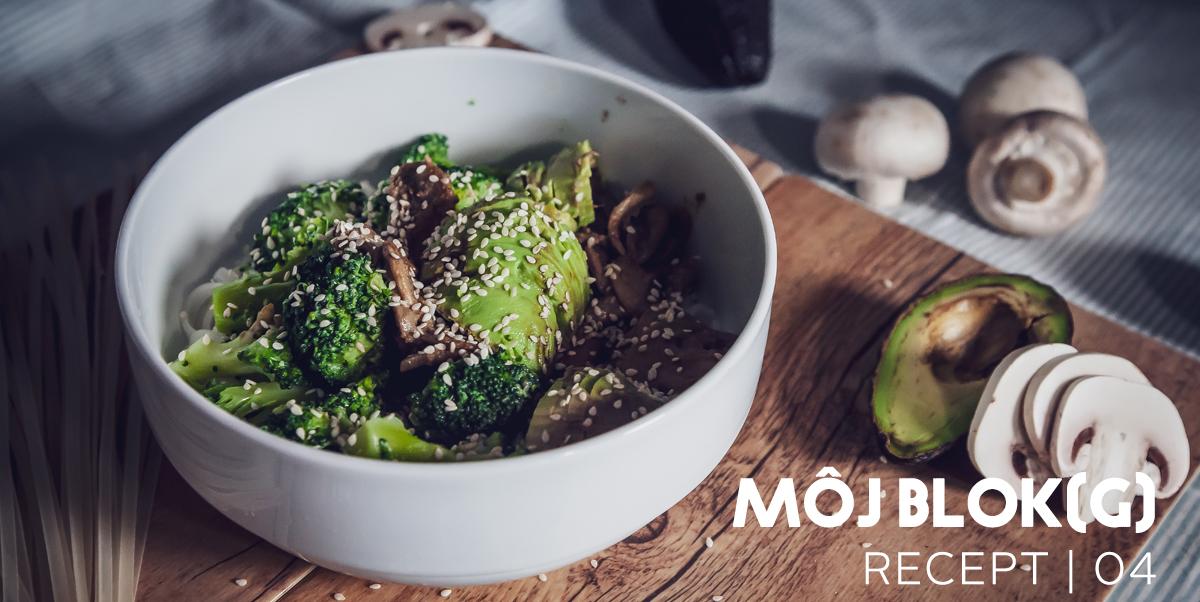 Ryžové cestoviny s brokolicou a hubami
